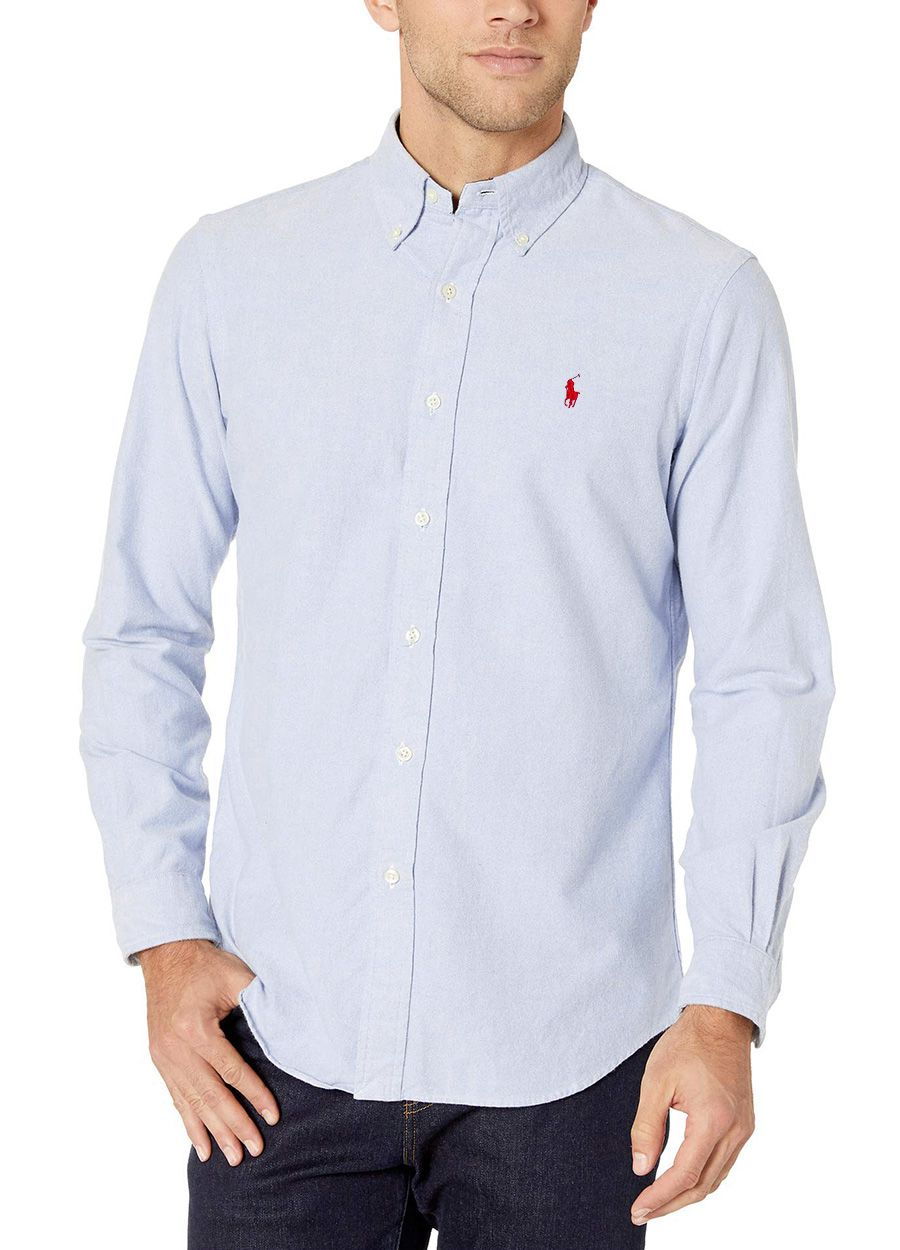 Camisa Ralph Lauren Masculina Custom Fit Oxford Light Blue