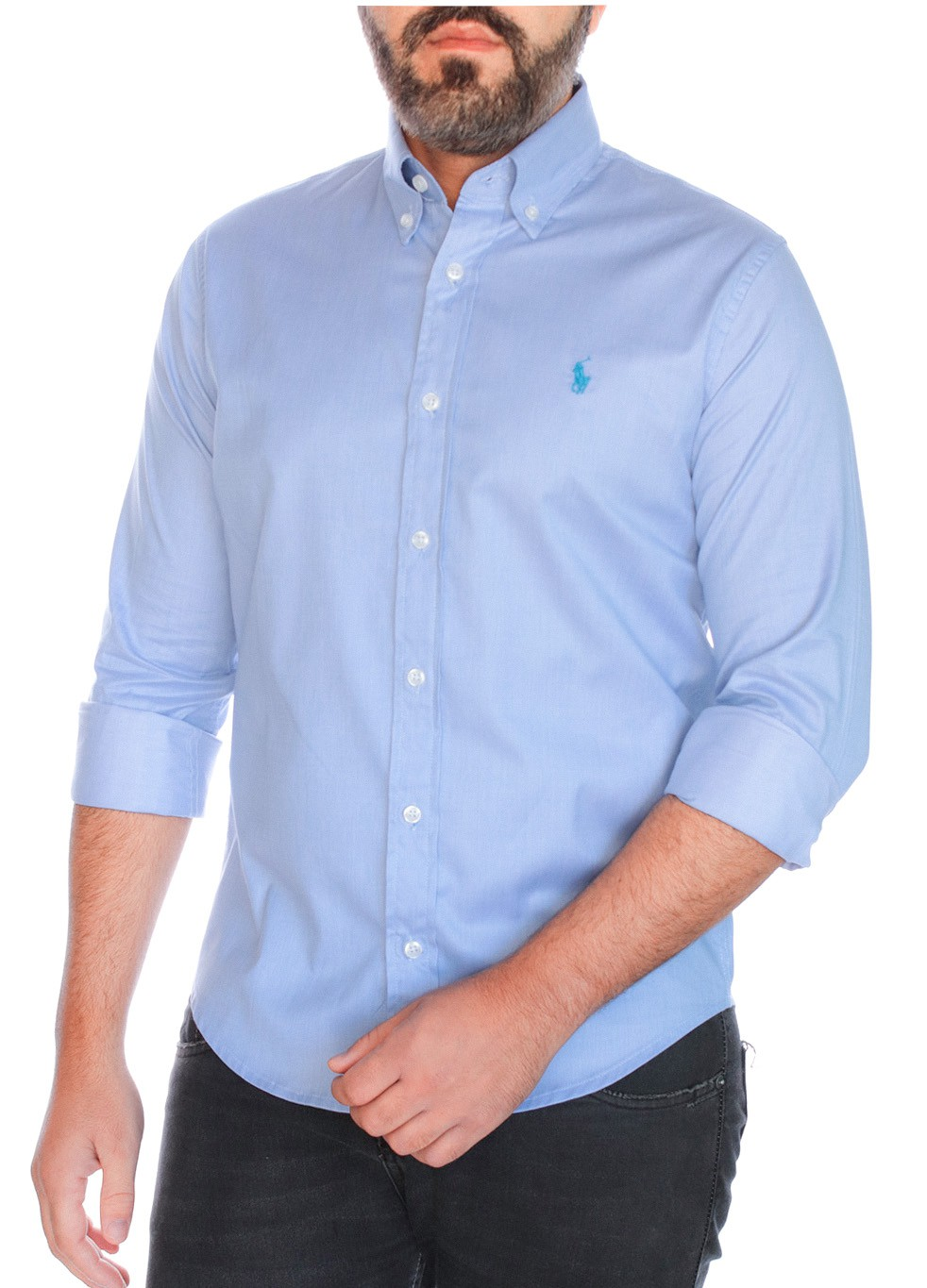 Camisa Ralph Lauren Masculina Custom Fit Machinate Tricoline Azul Claro