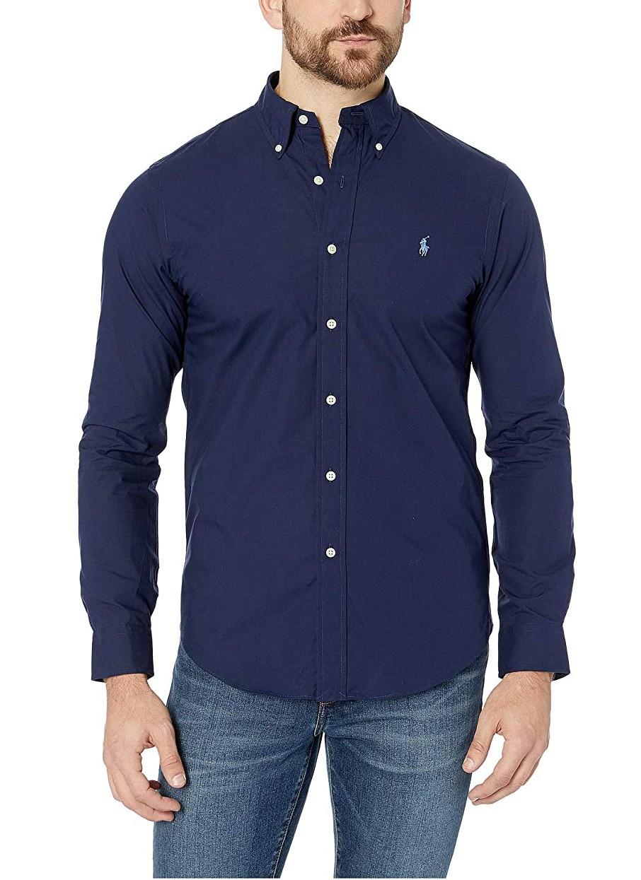 Camisa Ralph Lauren Masculina Custom Fit Small Pony Cotton Oxford Azul Marinho