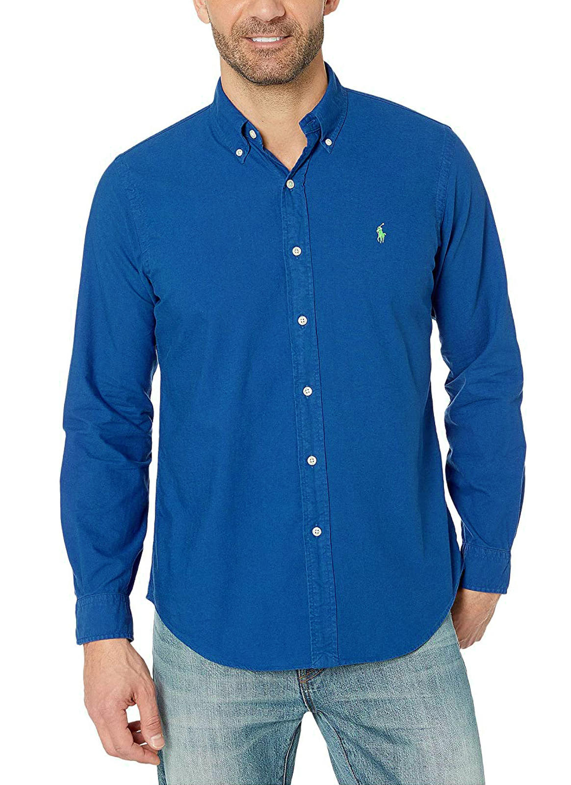 Camisa Ralph Lauren Masculina Custom Fit Cotton Basic Azul Royal