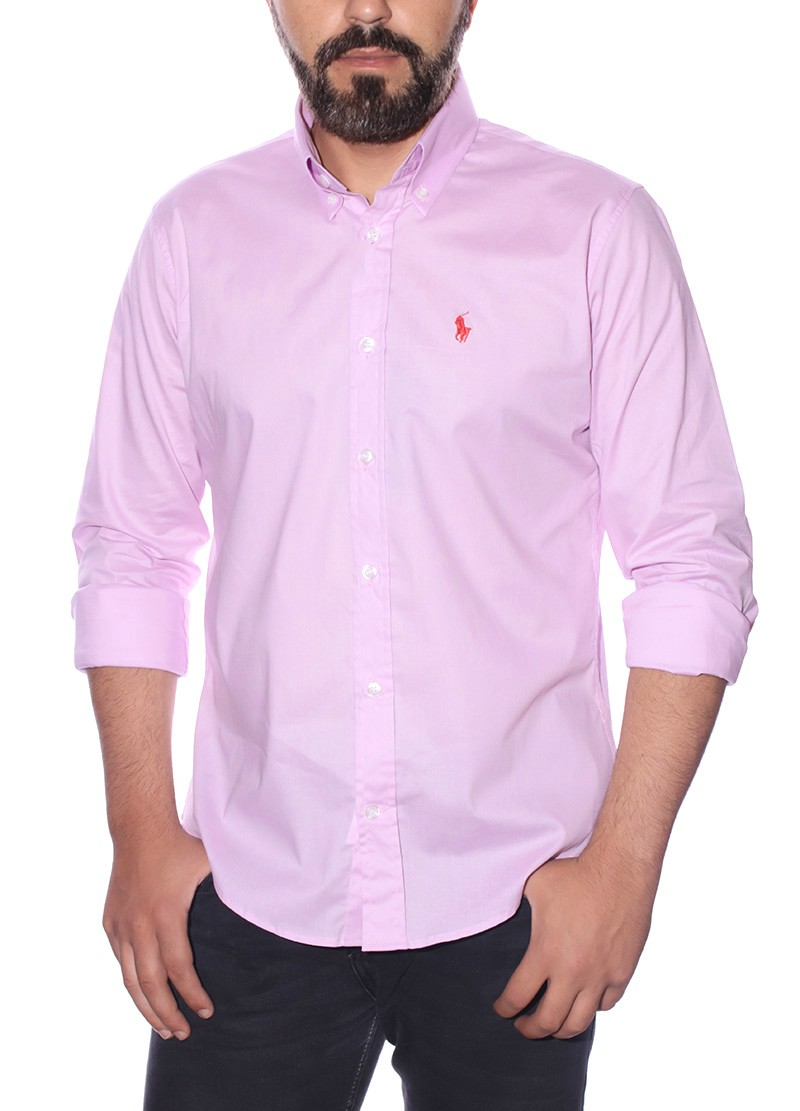 Camisa Ralph Lauren Masculina Custom Fit Cotton Rosa