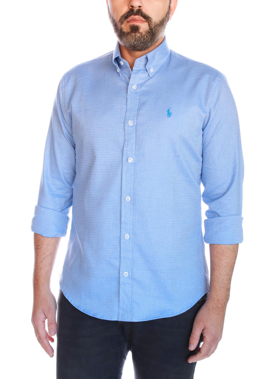 Camisa Social Polo Ralph Lauren Custom Fit Textured Azul Claro