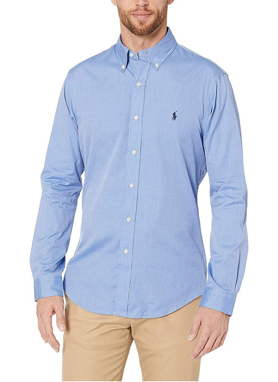 Camisa Ralph Lauren Masculina Custom Fit Fil a Fil Azul