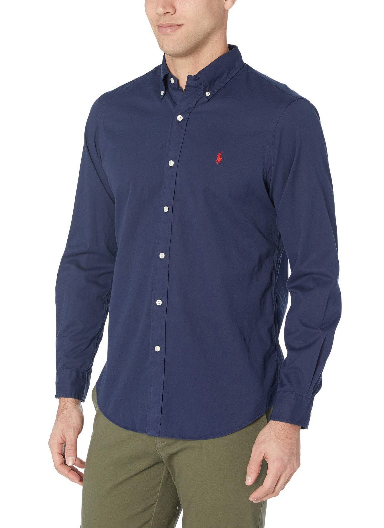 Camisa Ralph Lauren Masculina Custom Fit Oxford Azul Marinho