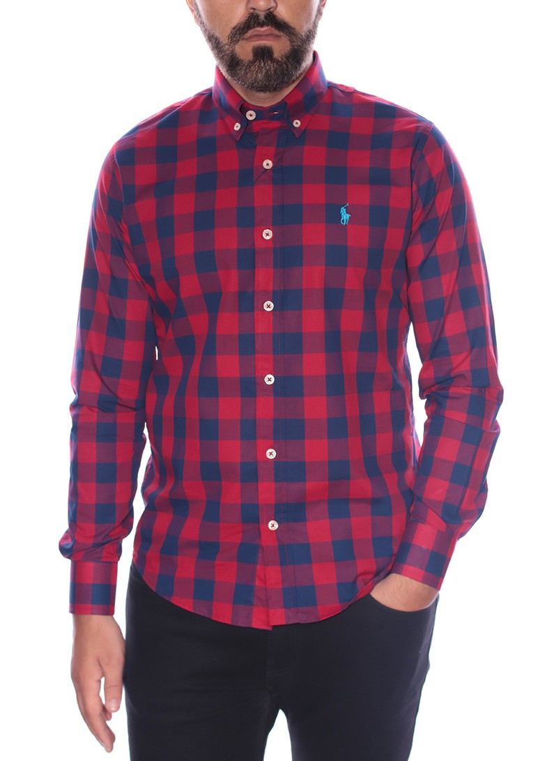 Camisa Ralph Lauren Masculina Slim Fit Xadrez Checkered Icon Classic Vermelho
