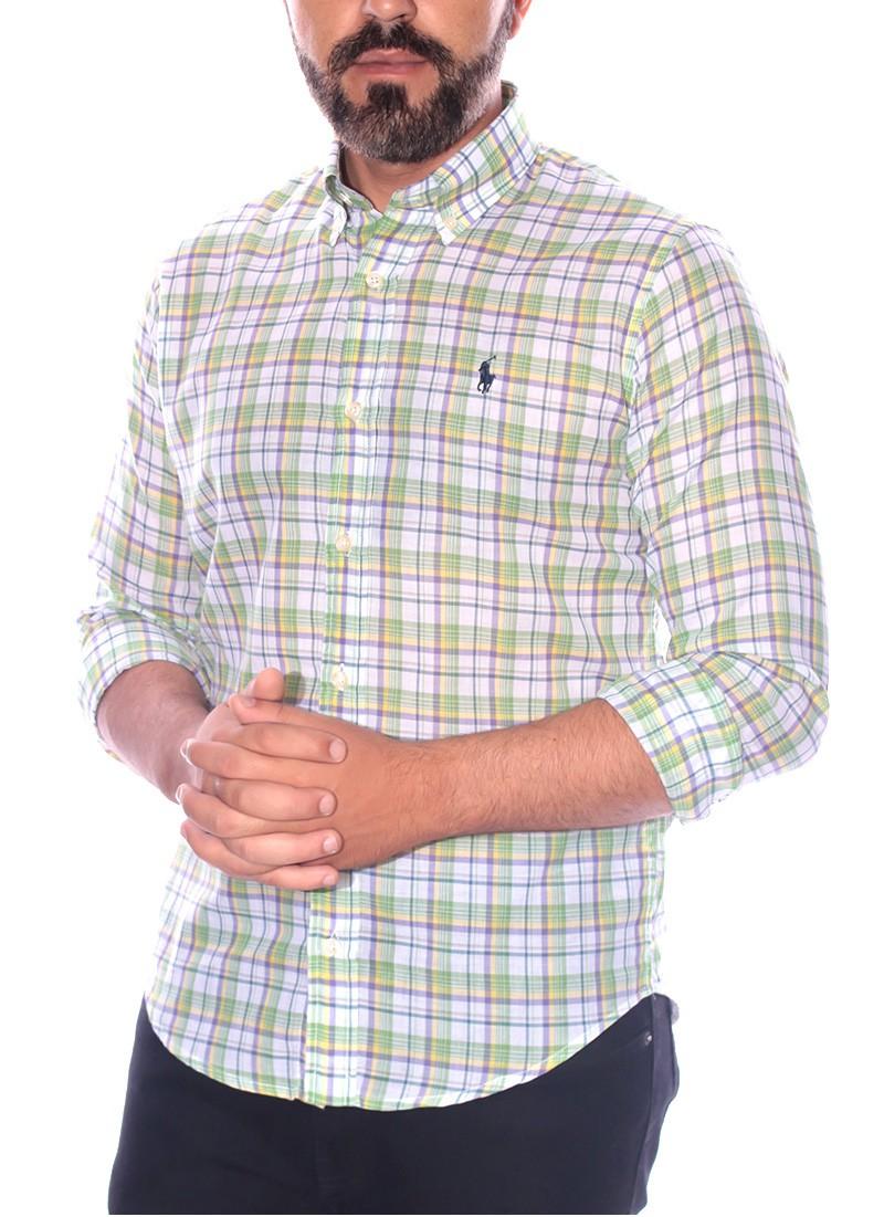 Camisa Ralph Lauren Masculina Slim Fit Xadrez Checkered Linho e Algodão Multicores
