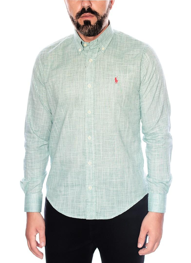 Camisa Social Polo Ralph Lauren Slim Fit Linho Verde Claro
