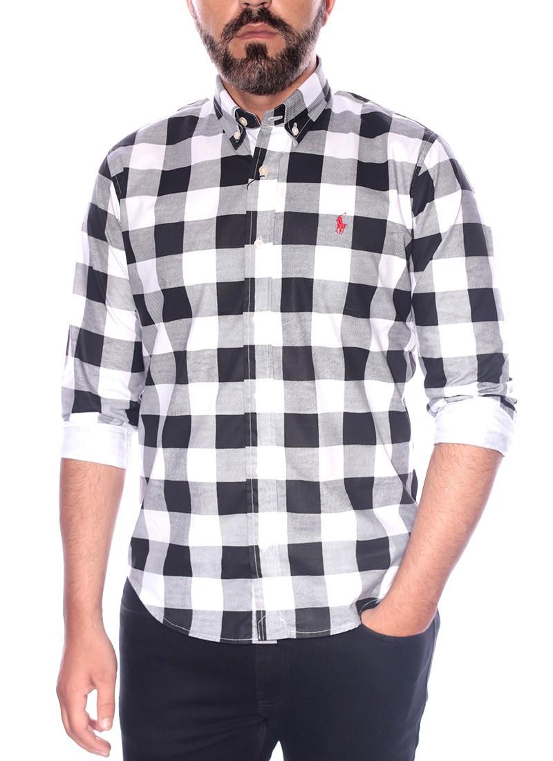 Camisa Ralph Lauren Masculina Slim Fit Check Xadrez Icon Red Classic Branco Preto