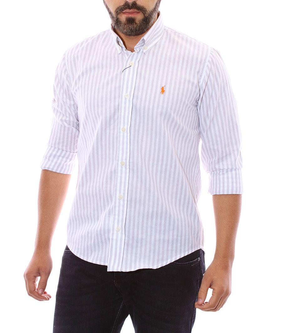 Camisa Ralph Lauren Masculina Custom Fit Striped Listrada Branca