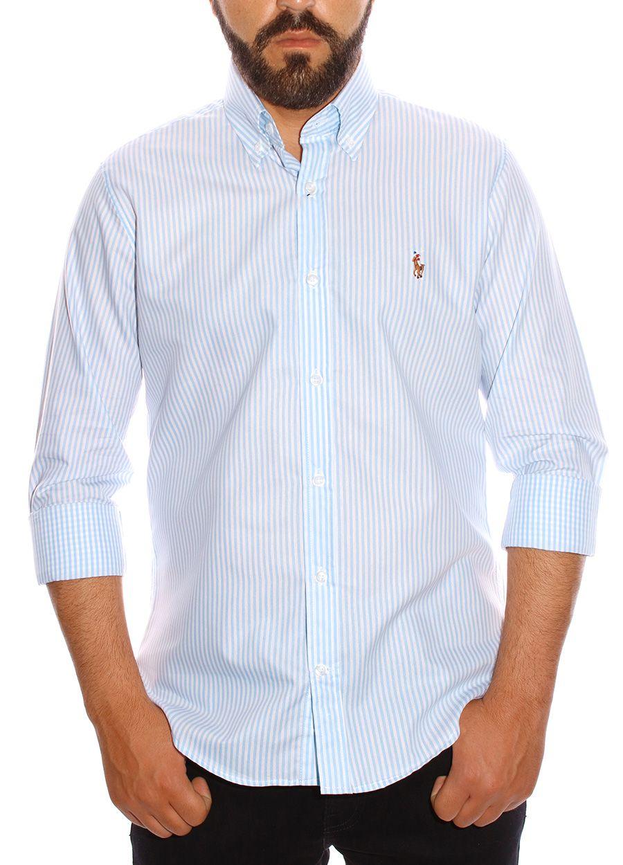 Camisa Ralph Lauren Masculina Stripes Light Blue Logo Colored