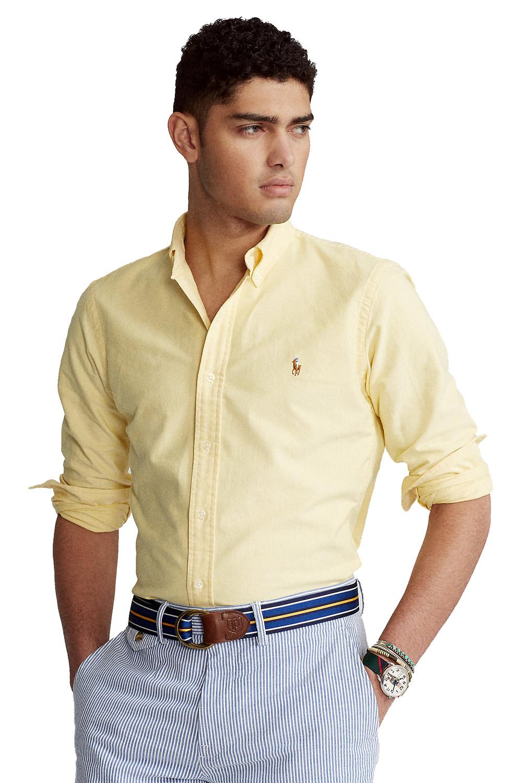 Camisa Social Ralph Lauren Masculina Custom Fit Color Icon Cotton Oxford Amarelo