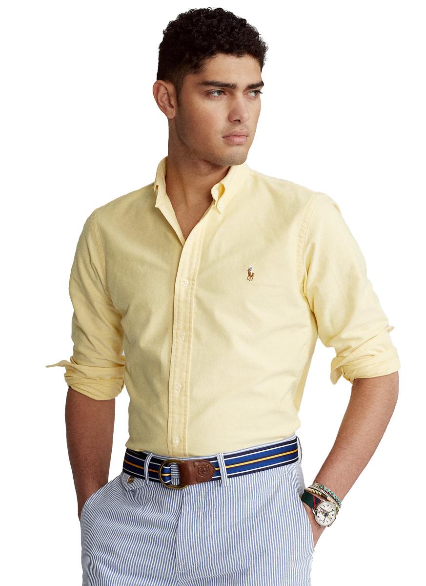 Camisa Social Ralph Lauren Masculina Custom Fit Oxford Amarelo Pony Colored