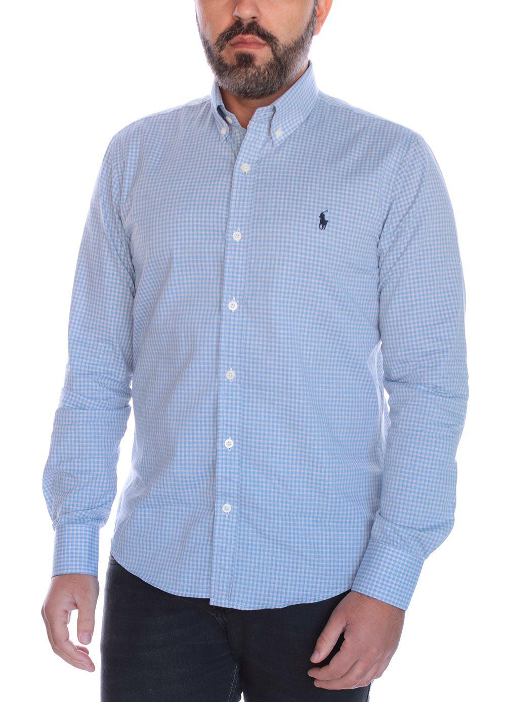 Camisa Social Polo Ralph Lauren Slim Fit Quadriculada Azul Claro