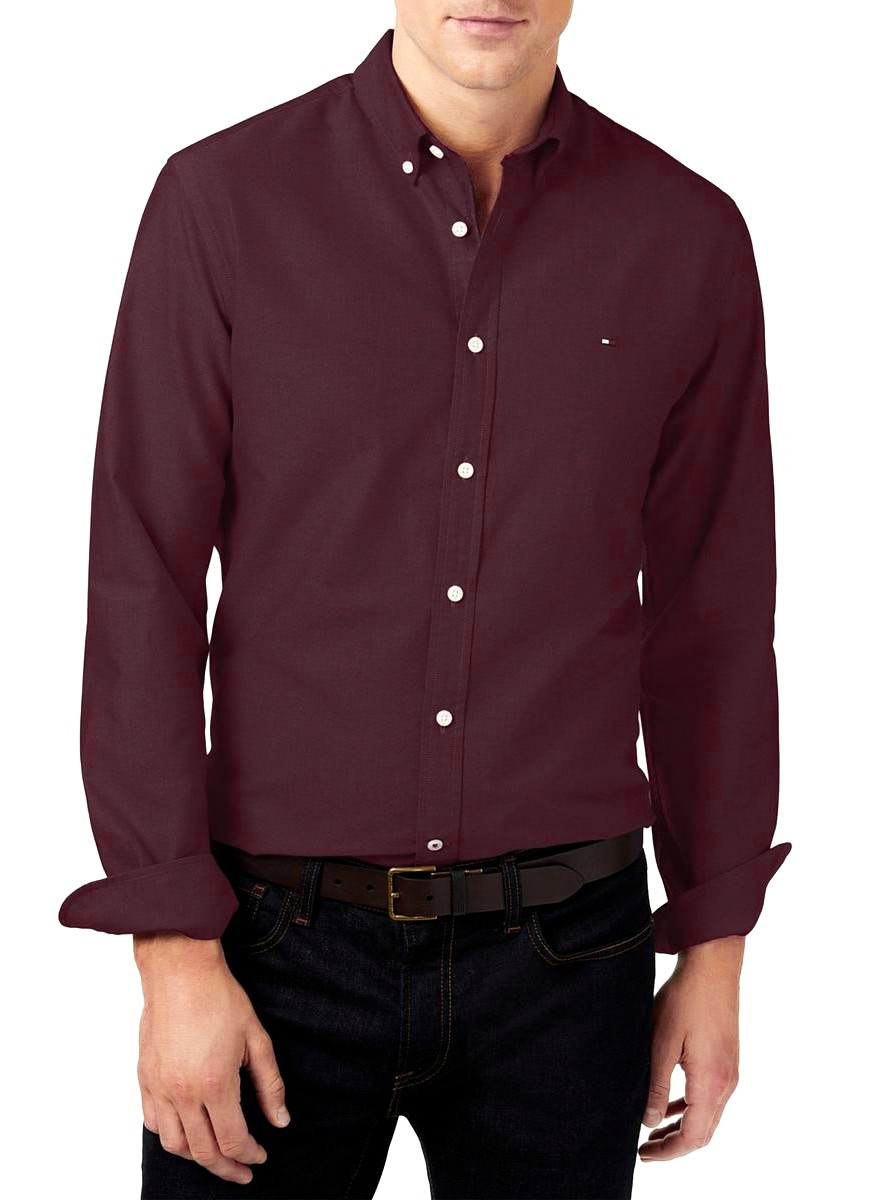 Camisa Tommy Hilfiger Masculina Regular Fit Cotton Oxford Vinho
