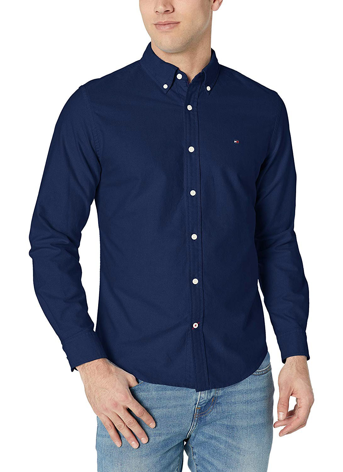 Camisa Tommy Hilfiger Masculina Regular Fit Cotton Oxford Azul Marinho