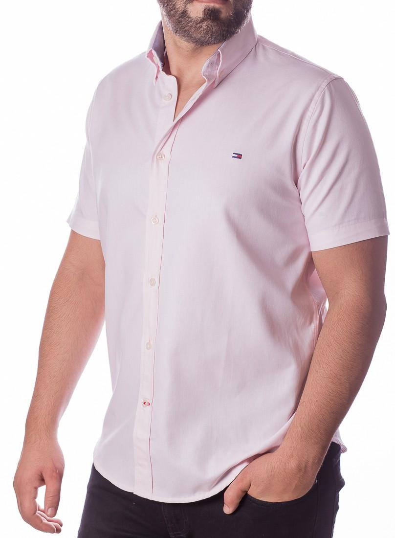 Camisa Tommy Hilfiger Masculina Manga Curta Custom Fit Oxford Rosa