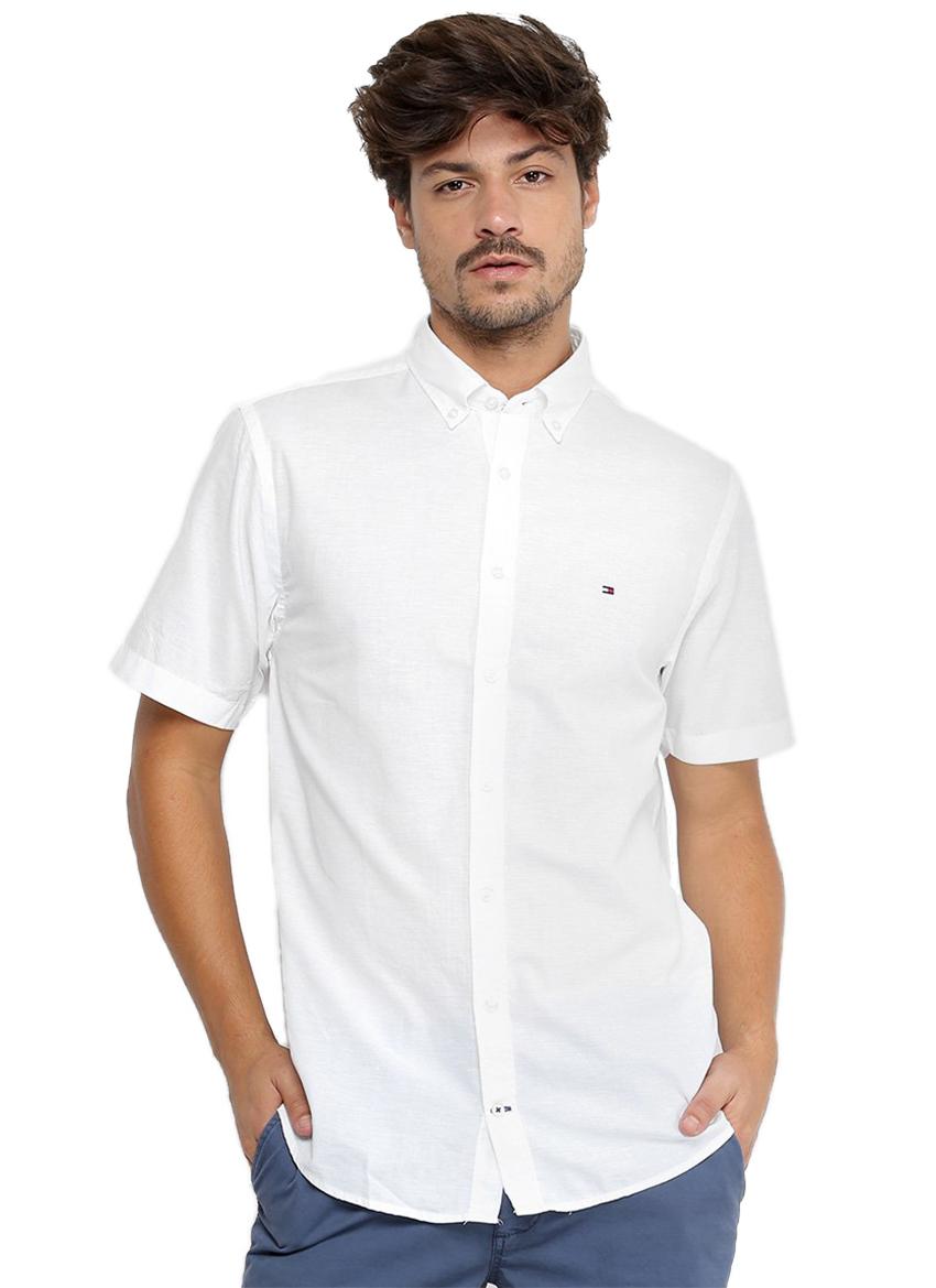 Camisa Tommy Hilfiger Masculina Manga Curta Regular Fit Oxford Branco