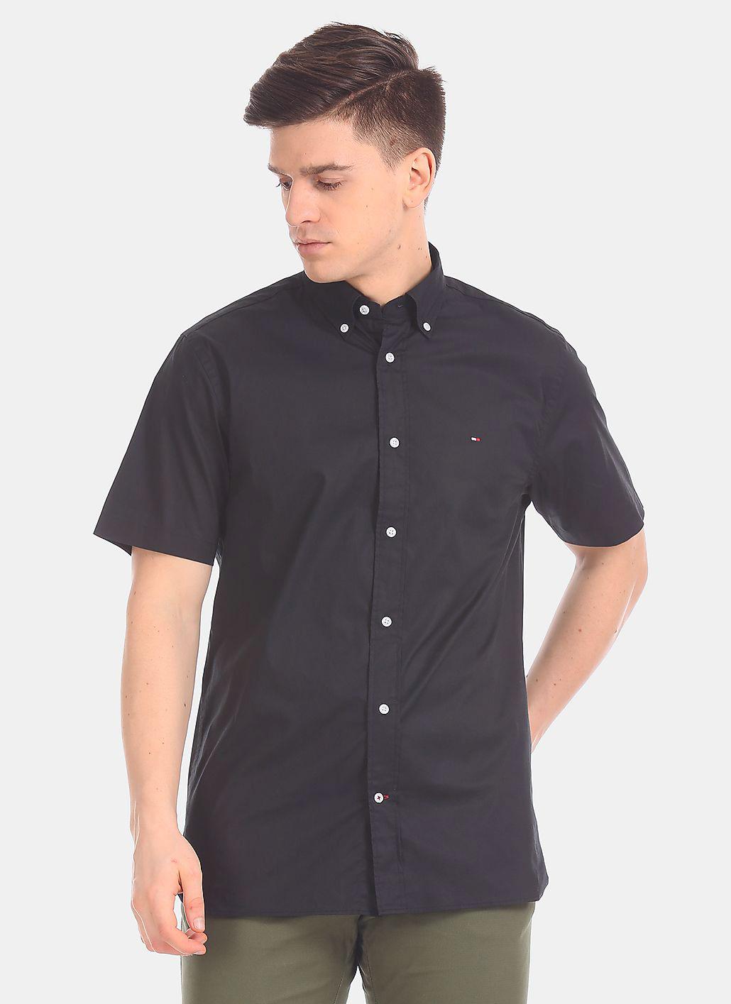 Camisa Tommy Hilfiger Masculina Manga Curta Regular Fit Oxford Preto
