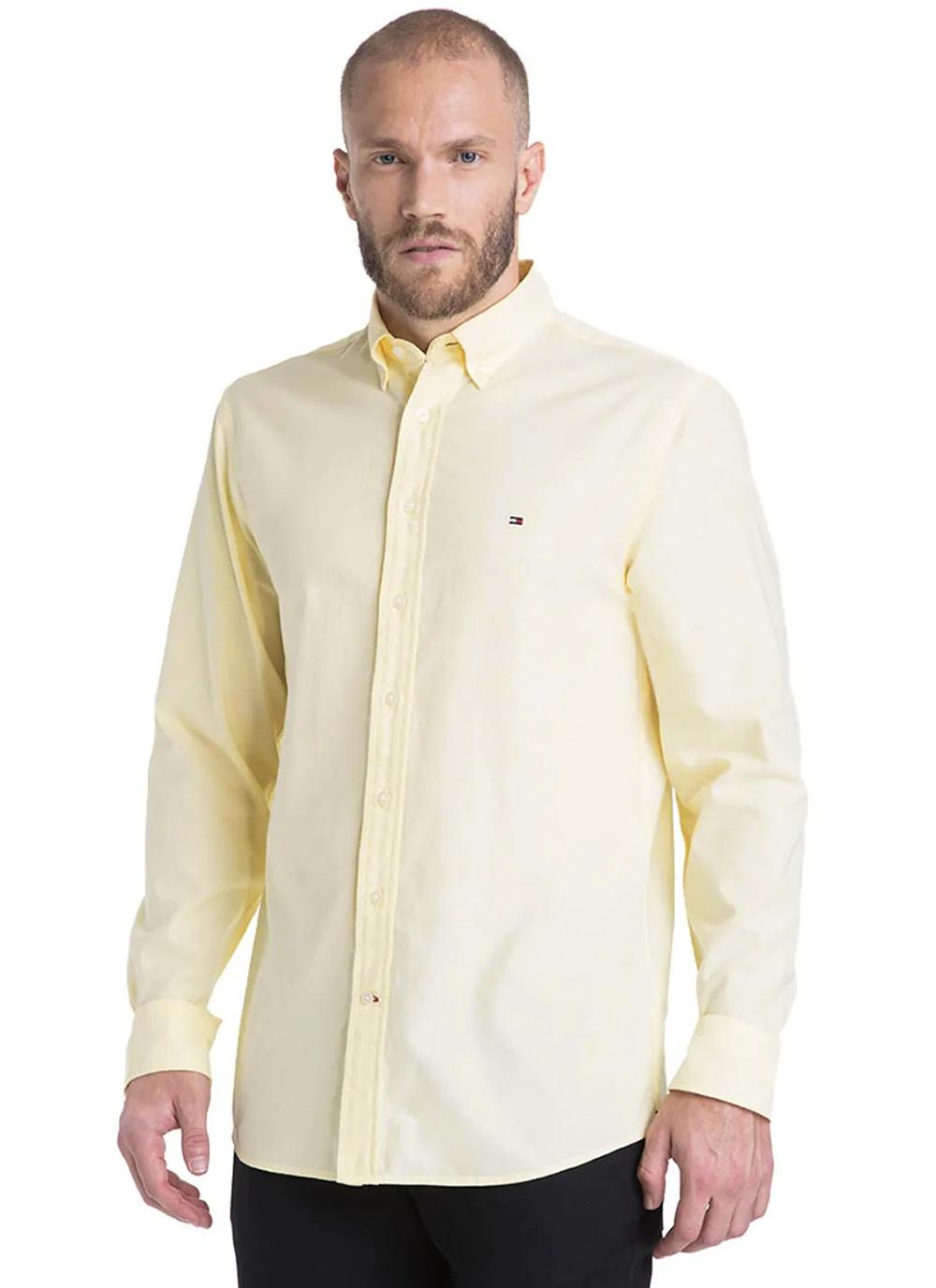 Camisa Tommy Hilfiger Masculina Regular Fit Cotton Oxford Amarelo