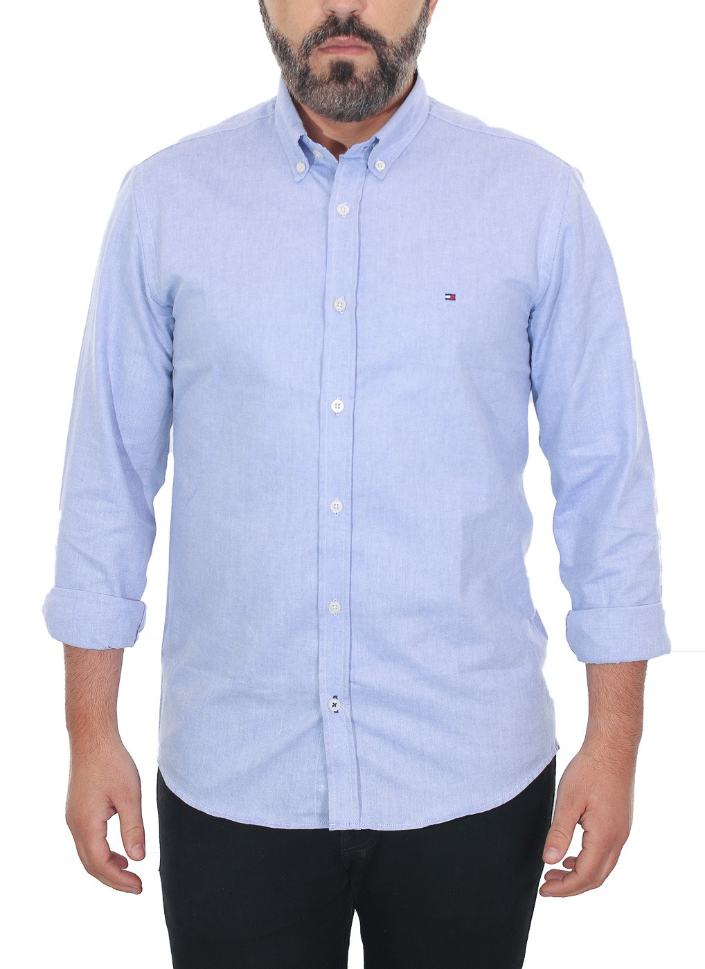 Camisa Tommy Hilfiger Masculina Regular Fit Cotton Oxford Azul Aço