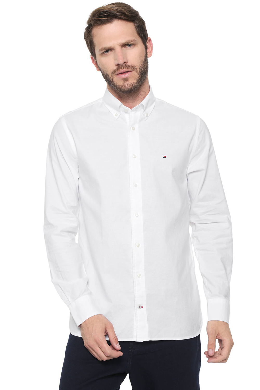 Camisa Tommy Hilfiger Masculina Regular Fit Cotton Oxford Branco