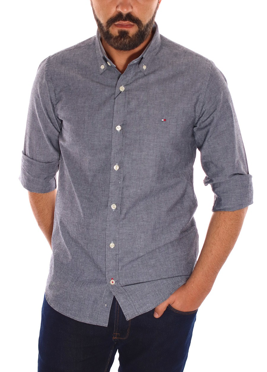 Camisa Tommy Hilfiger Masculina Regular Fit Cotton Oxford Cinza