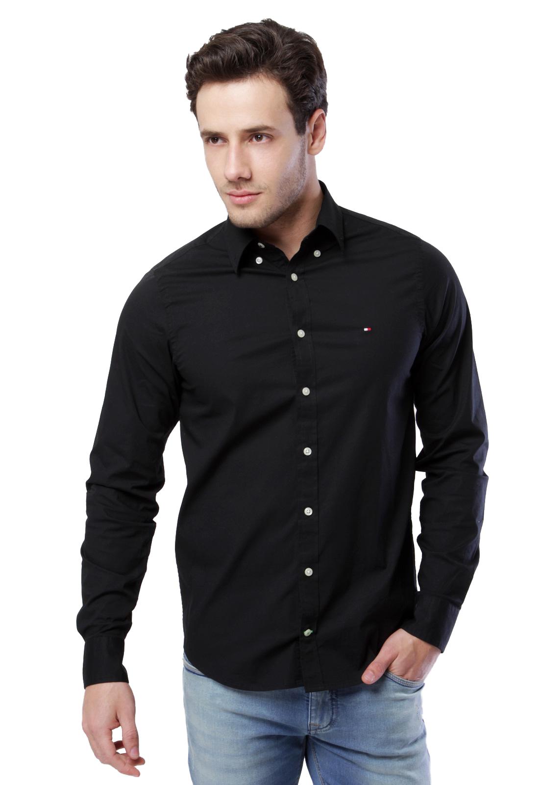 Camisa Tommy Hilfiger Masculina Regular Fit Cotton Oxford Preto