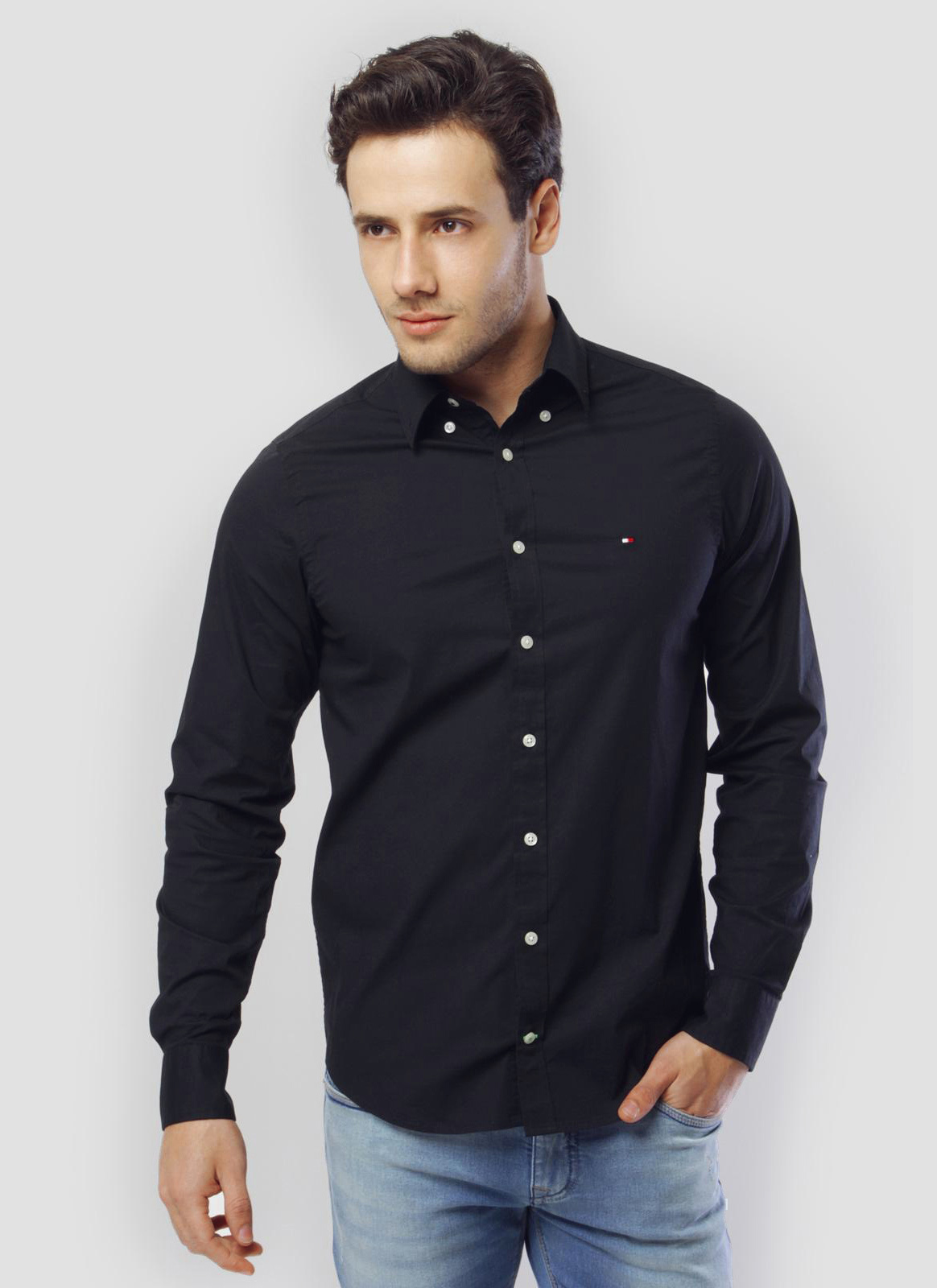 Camisa Tommy Hilfiger Masculina Regular Fit Cotton Oxford Preto