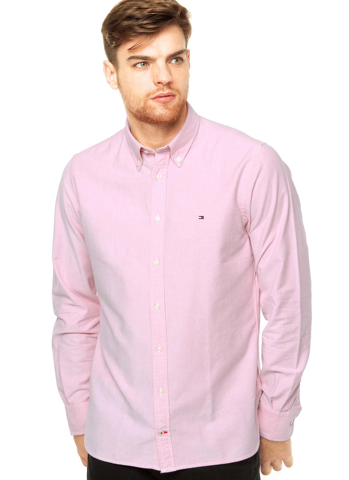 Camisa Tommy Hilfiger Masculina Regular Fit Cotton Oxford Rosa