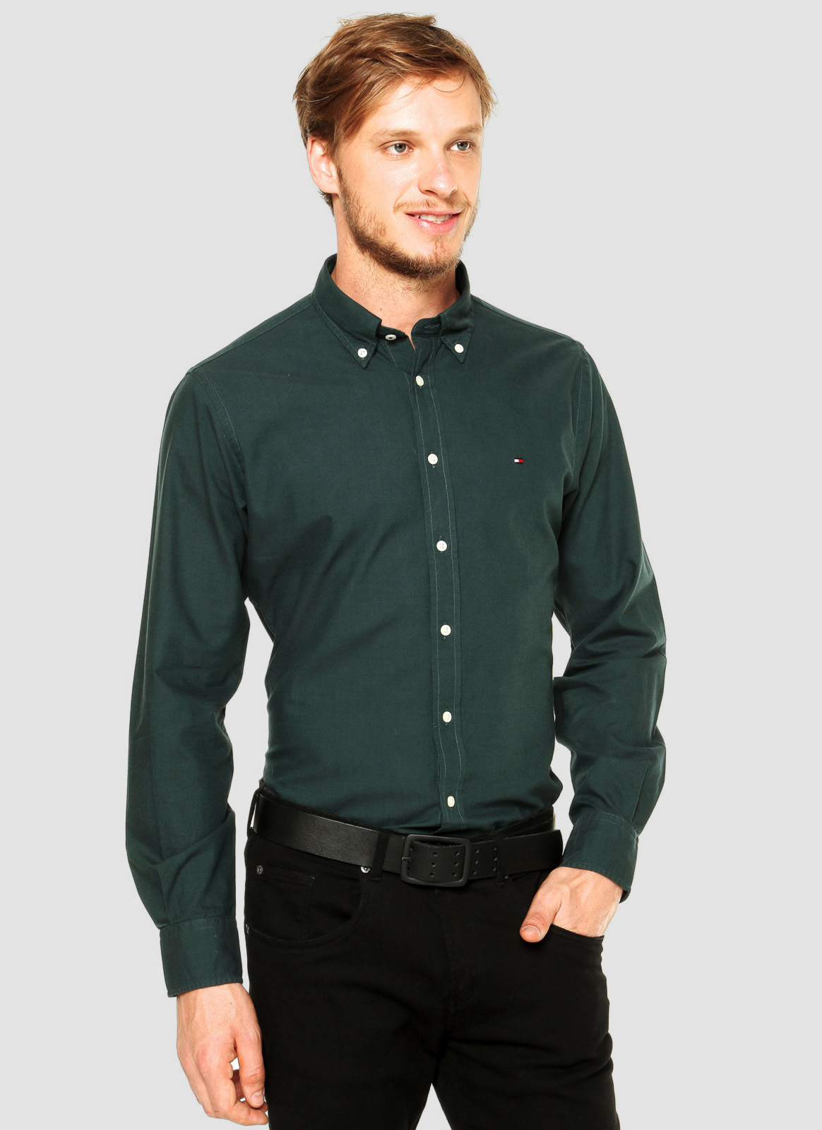 Camisa Tommy Hilfiger Masculina Regular Fit Cotton Oxford Verde Musgo