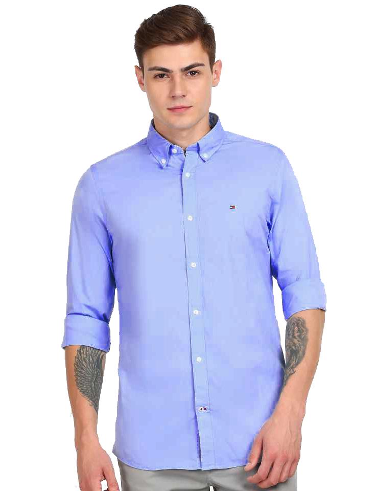 Camisa Tommy Hilfiger Masculina Regular Fit Cotton Tricoline Azul Aço