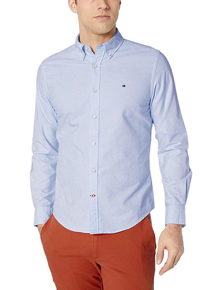 Camisa Tommy Hilfiger Regular Fit Listrada Oxford Striped Azul Claro