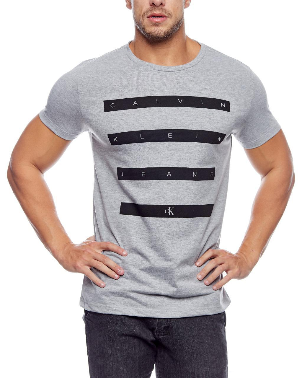 Camiseta Calvin Klein Jeans Masculina Regular Fit Lettering Cinza
