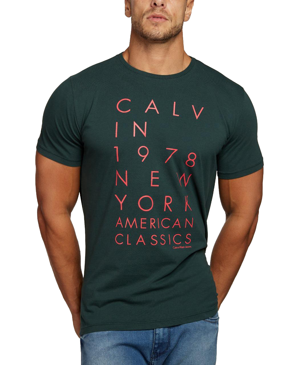 Camiseta Calvin Klein Jeans Regular Fit American Classic 1978 NY Verde