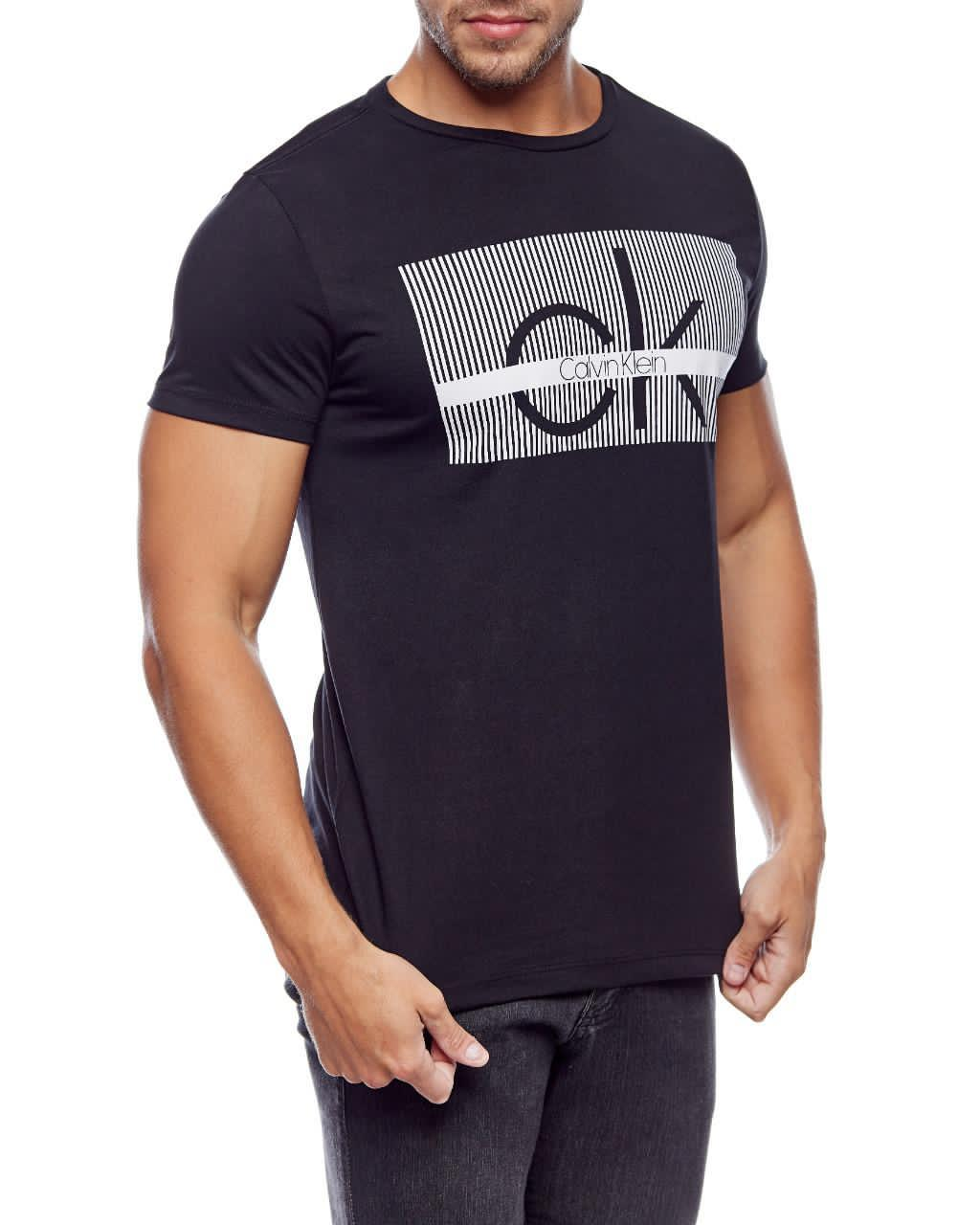 Camiseta Calvin Klein Masculina Algodão Regular Fit Lettering CK Preto