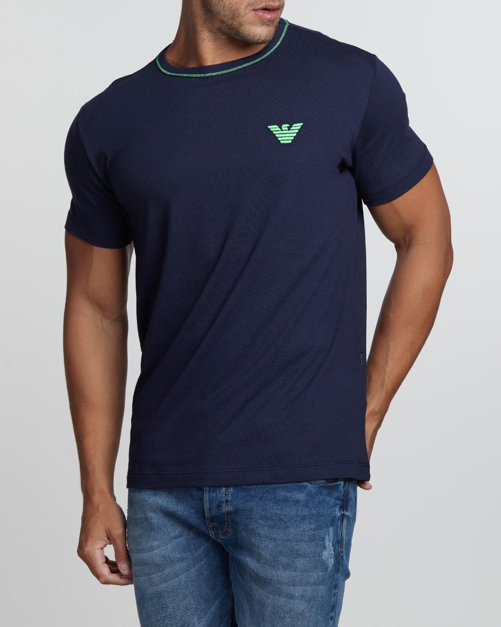 Camiseta Emporio Armani Classic Fluorecent Bordado Azul Marinho