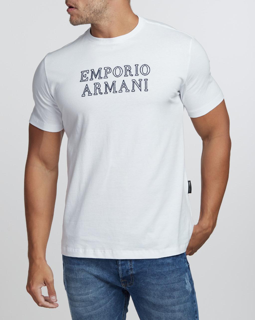 Camiseta Emporio Armani Lettering Bordado Branco