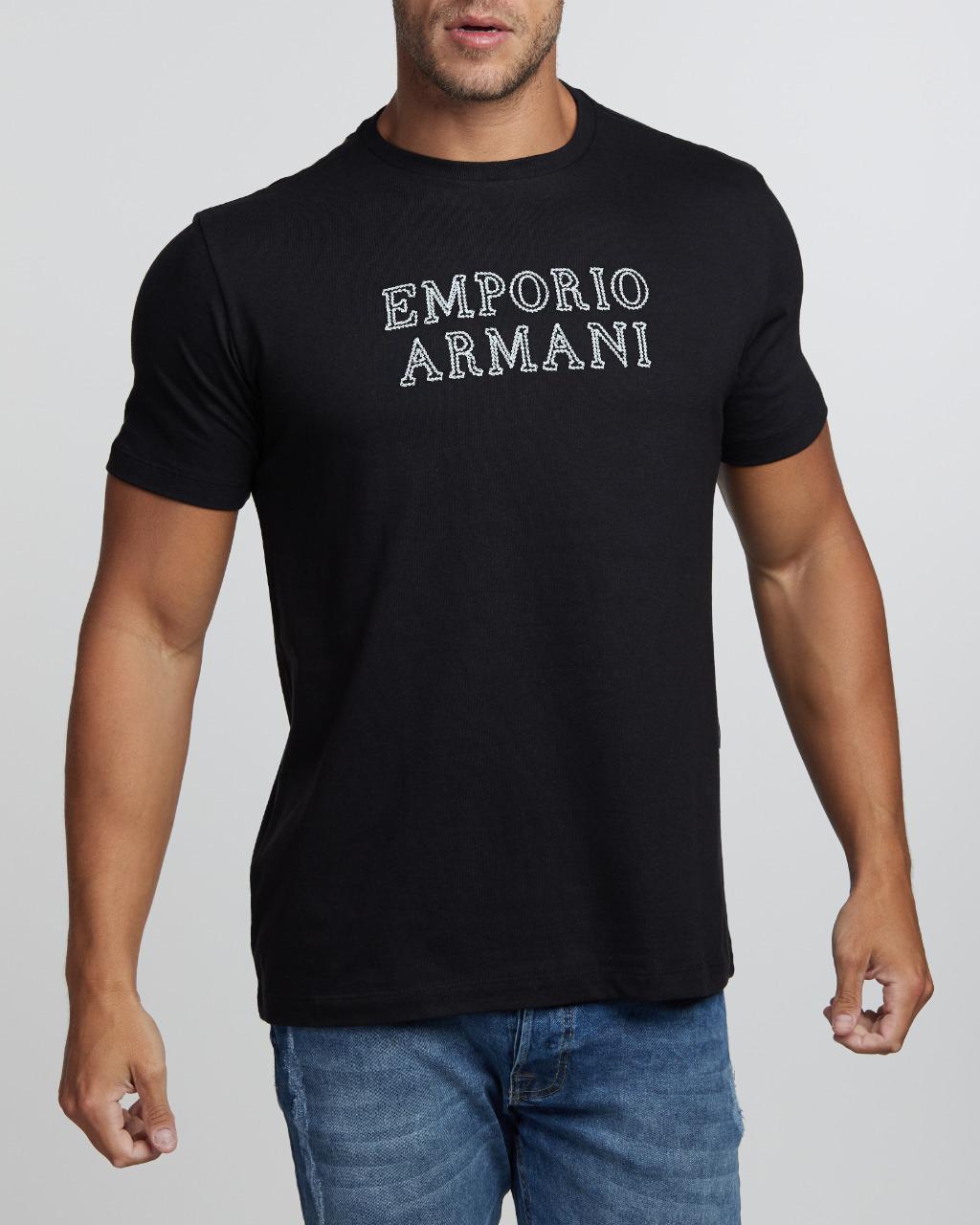Camiseta Emporio Armani Lettering Bordado Preto