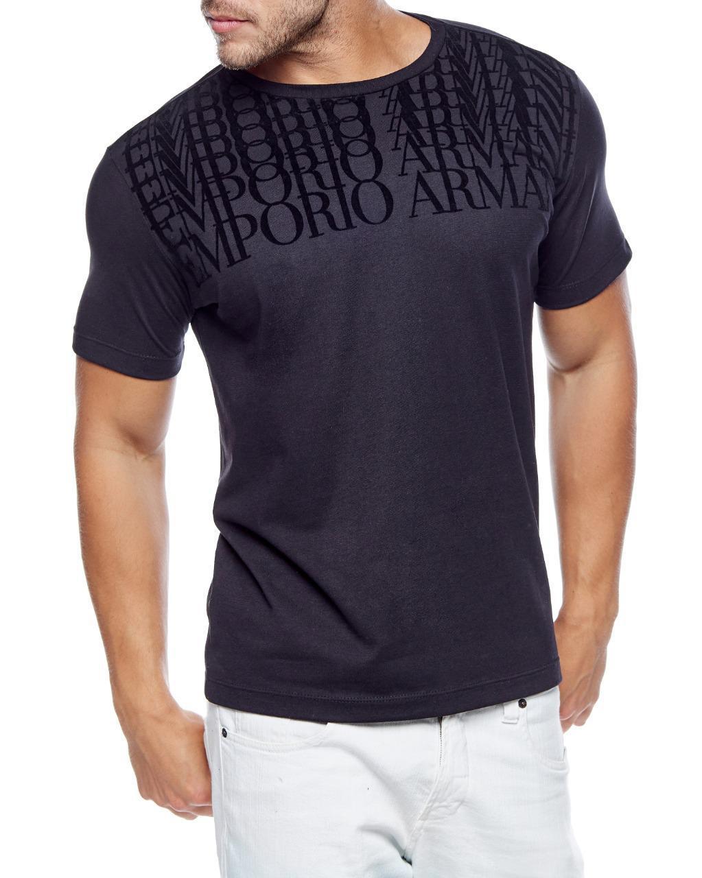 Camiseta Emporio Armani Slim Fit Lettering Logo Camurça Cinza