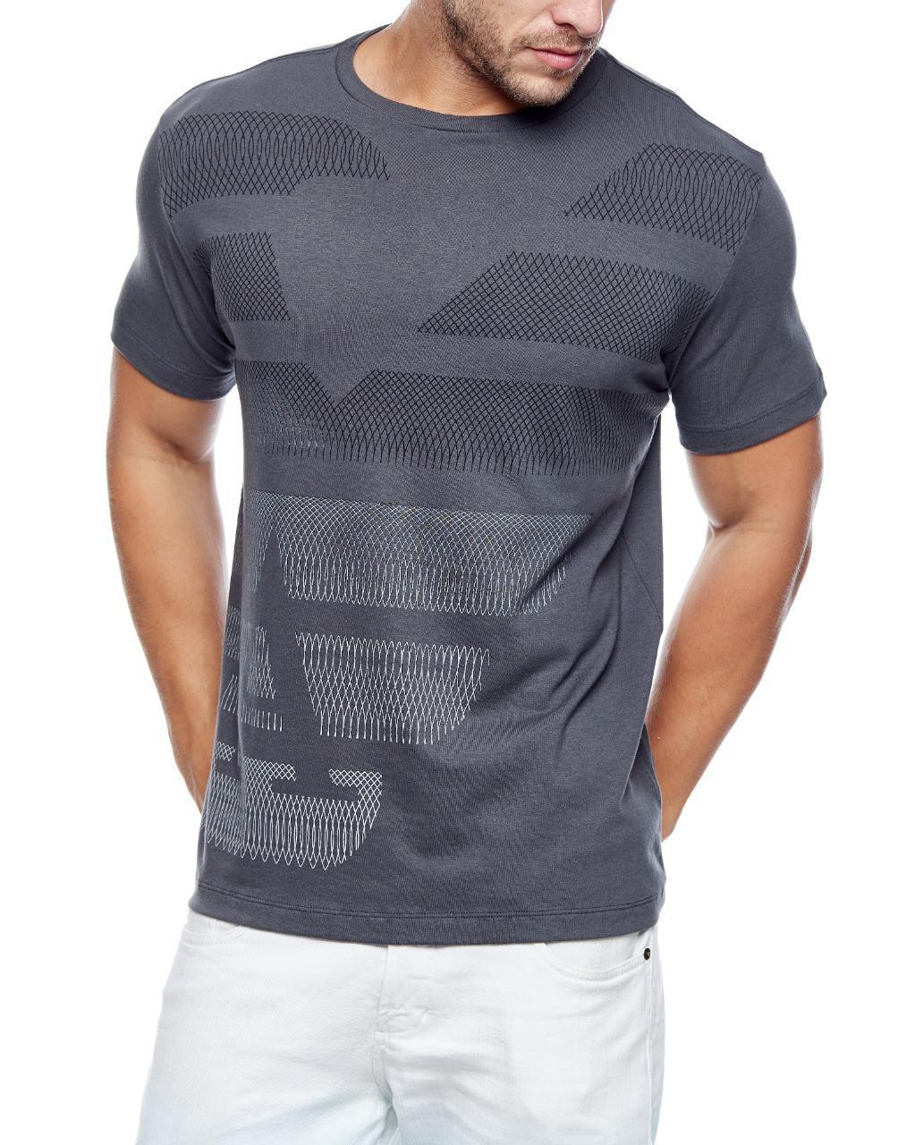 Camiseta Giorgio Armani Classic Logo Geometric GA Italian Cinza Escuro