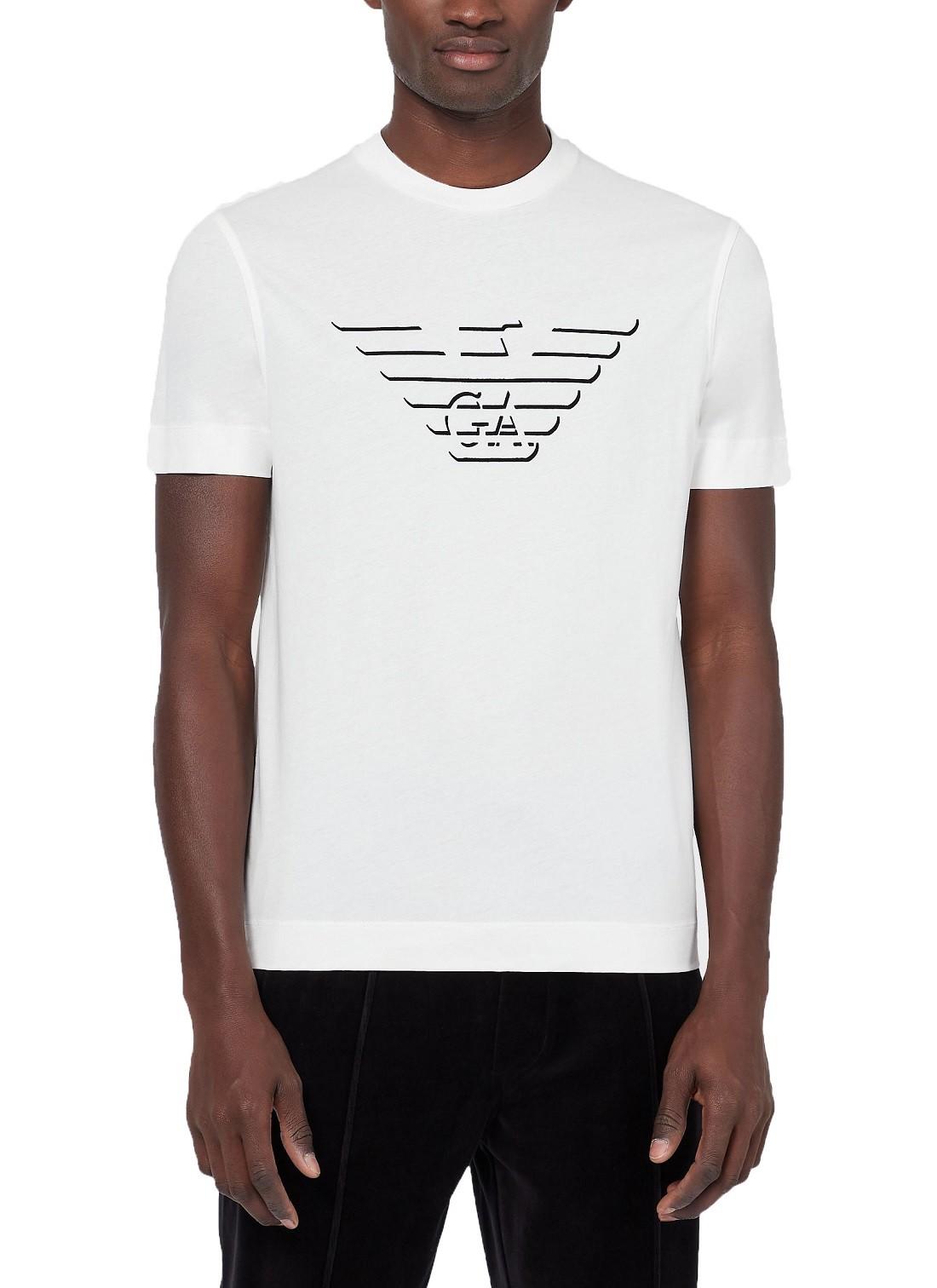 Camiseta Giorgio Armani Classic Print GA Logo Shadow Branco