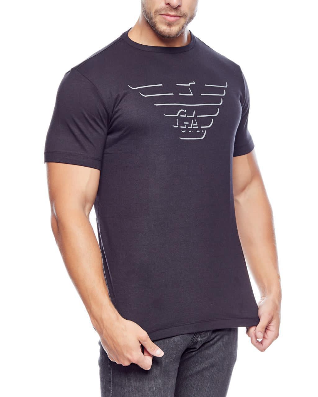 Camiseta Giorgio Armani Classic Print GA Logo Shadow Preto