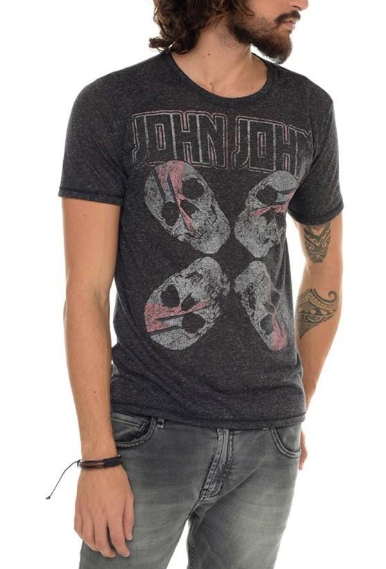 Camiseta John John Masculina Kiss Cinza Mescla Escuro