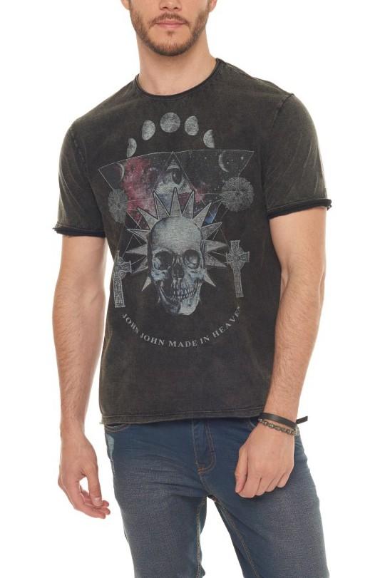 Camiseta John John Masculina Planet Skull Preto Stonado
