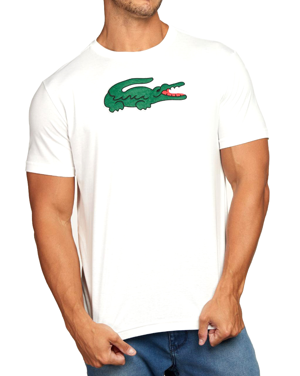 Camiseta Lacoste Live Masculina Big Crocodilo Velvet Branco