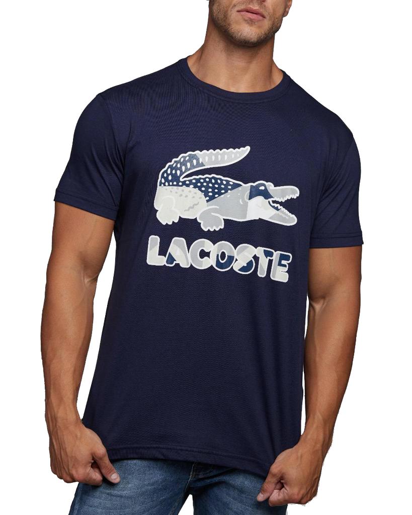 Camiseta Lacoste Live Masculina Camo Croc Azul Marinho