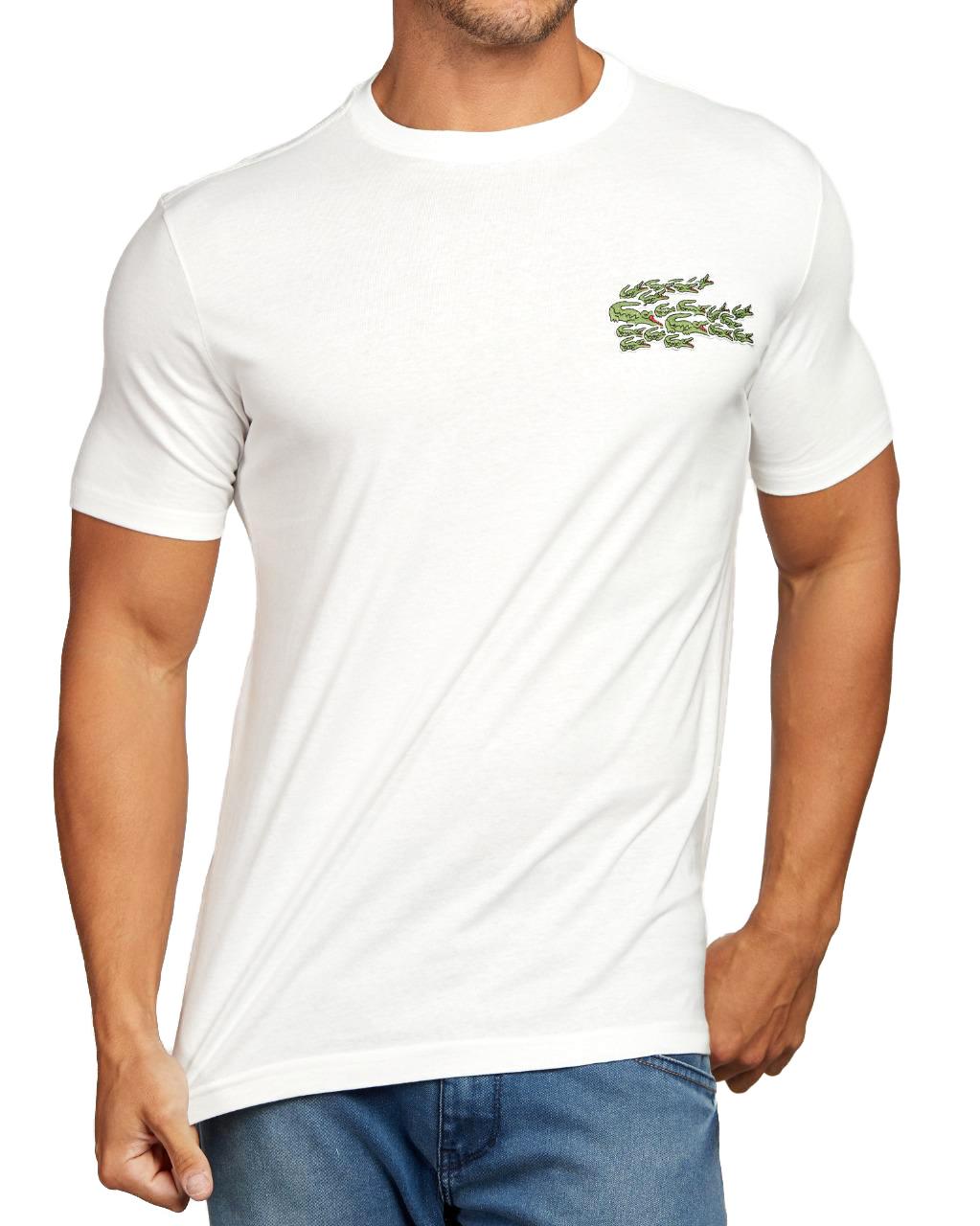Camiseta Lacoste Live Masculina Croc Patch Classic Cotton Branco