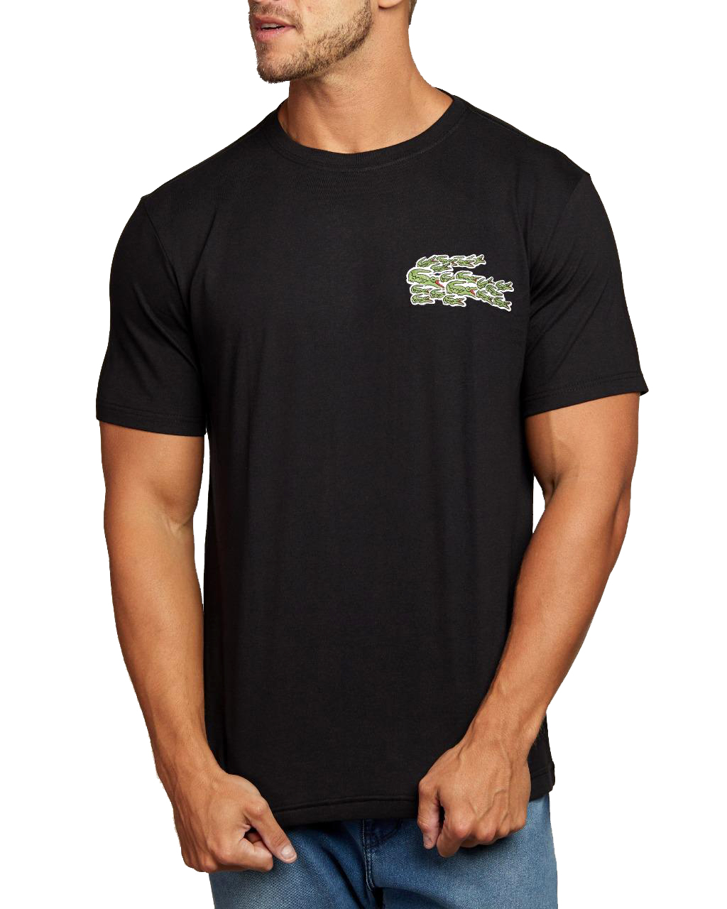 Camiseta Lacoste Live Masculina Croc Patch Classic Cotton Preto