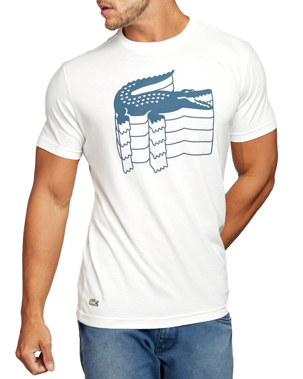 Camiseta Lacoste Live Masculina Crocodilo 3D Cotton Branco