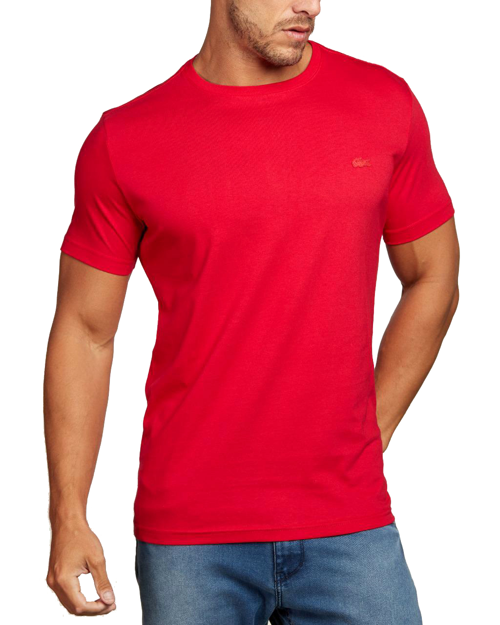 Camiseta Lacoste Live Masculina Icon Patch Red Classic Vermelho